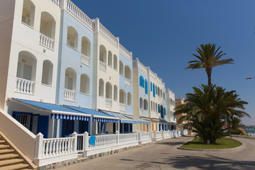 Mil Palmeras Costa Blanca Spain with seafront apartments in beautiful summer sunshine