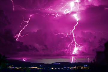 Poster Onweer Dangerous storm with lightning and lightning