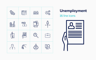 Unemployment icons. Set of line icons. Crisis, job search, job loss. Hr management concept. Vector illustration can be used for topics like business, career, employment