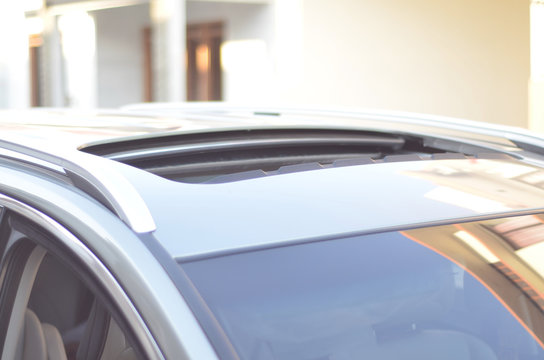 Modern car panoramic sunroof and moonroof