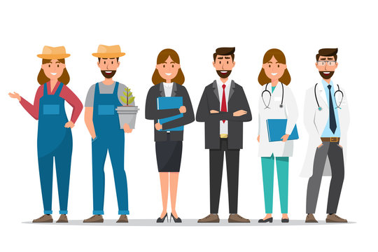 A group of people in different professions on a white background