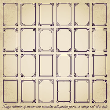Large collection of decorative calligraphic frames in vintage and retro style