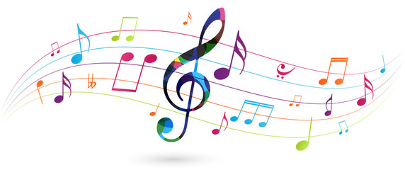 Colorful music notes background isolated on white