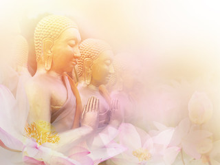 Golden monk statues sitting in a row and floral abstract pink blossom water lily with pastel vintage soft style.
