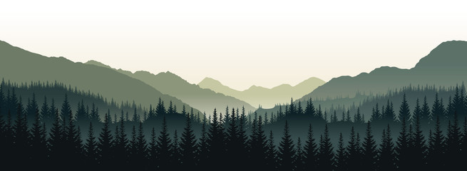 Vector panoramic landscape with green silhouettes of trees and hills
