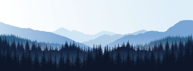 Vector panoramic landscape with blue silhouettes of trees and hills