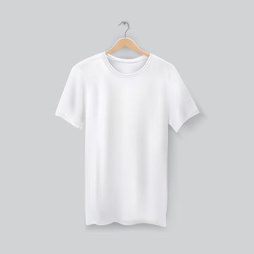 Unisex 3d t-shirt on clothes hanger. Blank tshirt