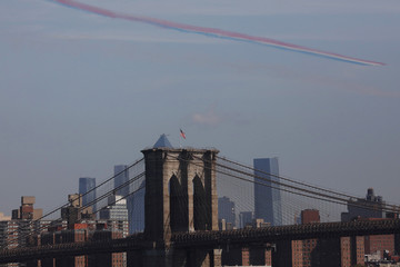 Royal Air Force Red Arrows, fly past the skyline of New York City, New York