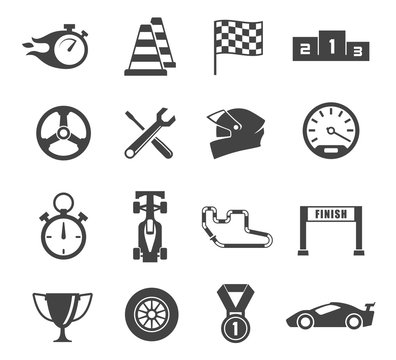 Sport car racing glyph isolated icons set