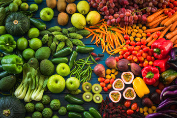 Different fresh fruits and vegetables flat lay on table top, Various fresh vegetables organic for eating healthy and diet Fototapete