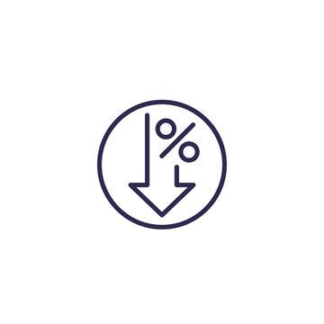 profit decrease icon, line vector