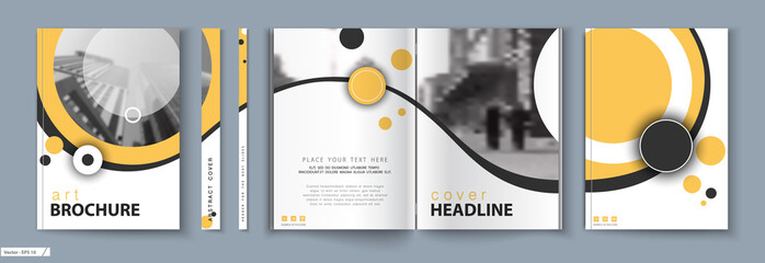Cover design. Business Template Brochure. City office photo, city. Yellow and black design, catalog, layout. White Techno. book, booklet, album, poster. Annual report, title. Ad text, font, a4 format