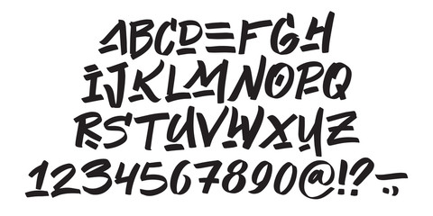 Hand drawn typeface on white background. Painted vector characters: lowercase and uppercase. Typography graffiti alphabet for your designs: logo, typeface, card, poster