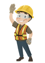 engineer character on white background