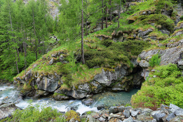 View of canyon known as Gouffre des Busserailles in Aosta valley near Breuil-Cervinia, Italy