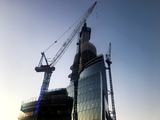 A crane towers over the construction site of casino operator Crown Resorts' new resort in Sydney