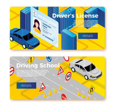 Vector driving school banner templates concept, licence id and car riding on training ground . With place for your text