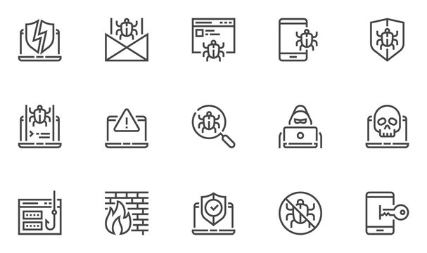 Hacking vector line icons set. Cyber virus, digital protection, hacker attack, internet security. Editable stroke. 48x48 Pixel Perfect.