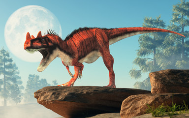 Ceratosaurus was a carnivorous theropod dinosaur of the Jurassic era most notable for the horns on its snout over its eyes. On a cliff by the moon. 3D Rendering. Wall mural