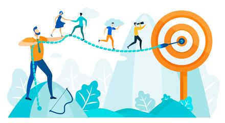 People Run to Goal, Leadership Practicing Skills.