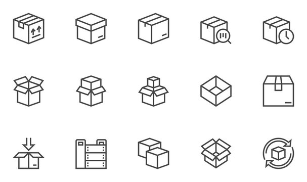 Boxes vector line icons set. Open Box, recycled box, wooden crate. Editable Stroke. 48x48 Pixel Perfect.