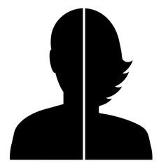 mwtg3 ManWomanThirdGender mwtg - gz421 GrafikZeichnung - english icon - avatar third gender silhouette: simple template isolated on white background. square poster xxl g8462