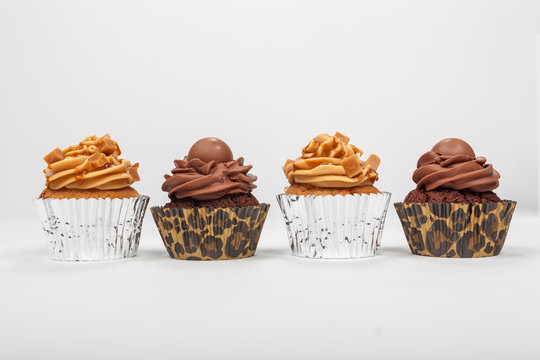 Four Chocolate and Caramel Cup Cakes