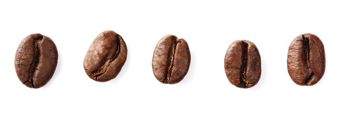 Coffee beans set isolated on white background and texture, top view