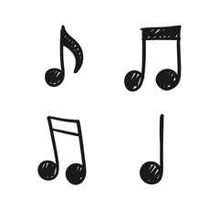 Music note doodles. Set of musical melody symbols. Hand drawn illustrations,