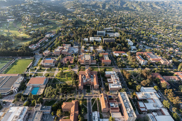Aerial view of UCLA campus and Westwood on April 18, 2018 in Los Angeles, California, USA.