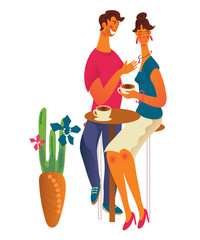 Keuken foto achterwand Kinderkamer Cute romantic couple at cafe or coffee shop drinking coffee and talking. Young man and woman dialog or conversation at cafe on date. Flat cartoon vector illustration isolated on white background.