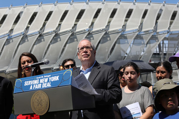 New York City Comptroller Scott Stringer speaks during news conference outside the USTA National Tennis Center at Flushing Meadows Corona Park in the Queens borough of New York