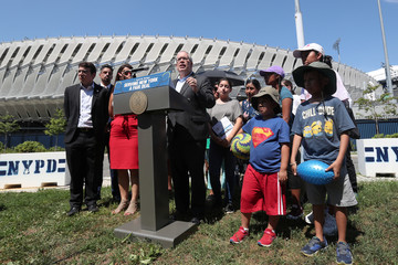 New York City Comptroller Scott Stringer speaks during a news conference outside the USTA National Tennis Center at Flushing Meadows Corona Park in the Queens borough of New York