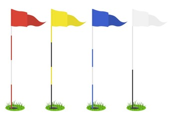 Set of golf flags - red, yellow, blue, white. Triangular flag in the hole with grass. Golf equipment or accessory. Template design for sport competition.