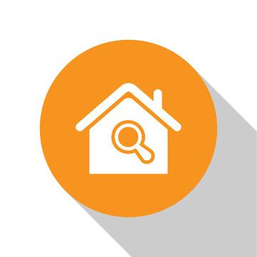 White Search house icon isolated on white background. Real estate symbol of a house under magnifying glass. Orange circle button. Vector Illustration