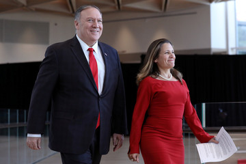 U.S. Secretary of State Pompeo and Canada's Foreign Minister Freeland walk to a news conference in Ottawa