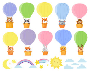 Cute kids animals in hot air balloons. Different elements for design. Deer, rabbit, fox, cat, koala, panda, lion, tiger, bear, monkey. Vector illustration