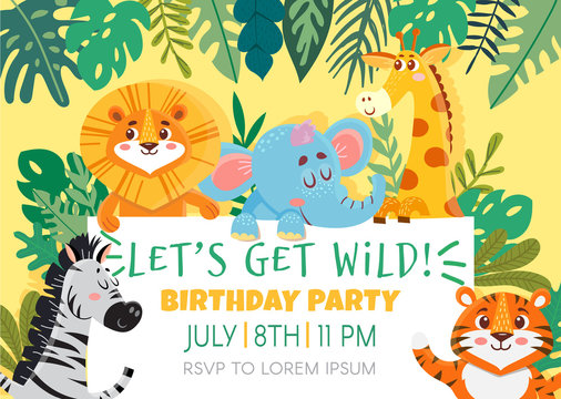 Birthday greeting cards with cute animals. Funny Jungle party. Template invitation. Vector illustration