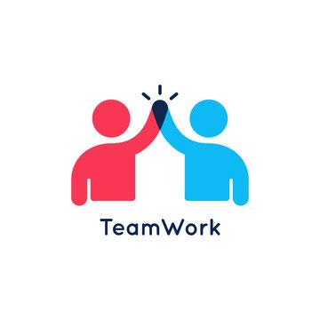 Teamwork concept logo. Team work icon on white