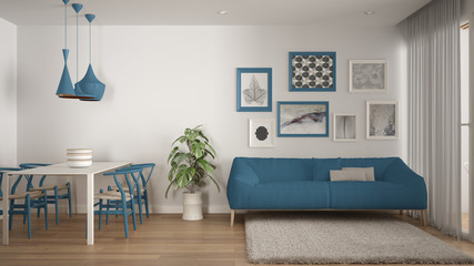 Warm and confortable colored white and blue living room with dining table, sofa and fur carpet, potted plant and parquet floor, contemporary architecture interior design Fototapete