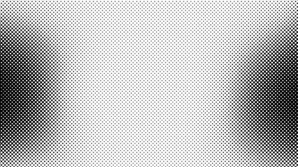 Monochrome black and white retro pop art background with halftone dots design