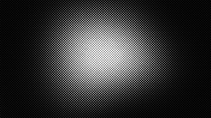 Monochrome black and white dotted background in retro pop art comic style, vector illustration