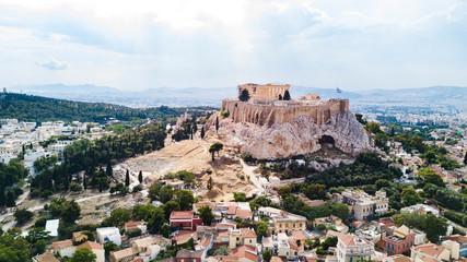 Autocollant pour porte Athènes Aerial view of the Acopolis in Athens, Greece