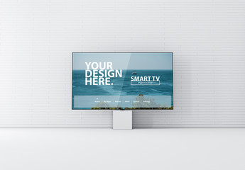 Smart TV Mockup in White Room