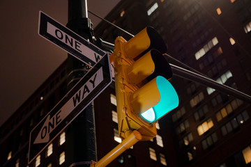 Traffic Light Shows Green Light in New York at Night Fotomurales