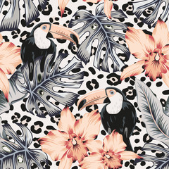 Toucans, orchid flowers, monstera, banana palm leaves, animal print background. Vector floral seamless pattern. Tropical illustration. Exotic plants, birds. Summer beach design. Paradise nature