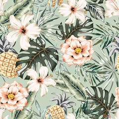 Tropical hibiscus, rose flowers, pineapples, monstera, banana palm leaves background. Vector seamless pattern. Jungle foliage illustration. Exotic plants. Summer beach floral design. Paradise nature