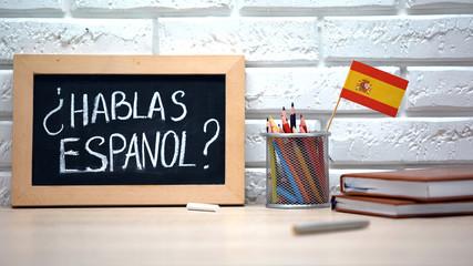 Do you speak Spanish written on board, international flag in box, language