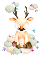 Watercolor illustration of a cute fawn on a cloud surrounded by stars. Print for greeting cards, invitations, children's textiles and posters.