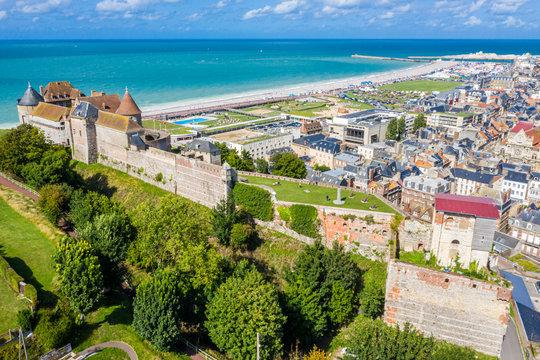 Aerial view of Dieppe town, the fishing port on the English Channel, at the mouth of Arques river. On a clifftop overlooking pebbly Dieppe Beach is the centuries-old Chateau de Dieppe, now the museum